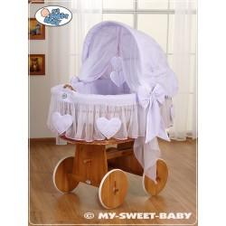 Berceau bébé osier Coeurs - Violette