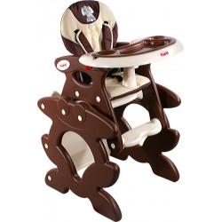Chaise haute transformable en table et chaise brun
