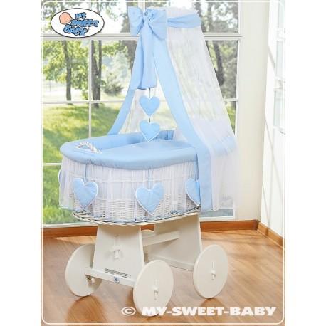berceau b b osier coeurs bleu blanc berceaux osier. Black Bedroom Furniture Sets. Home Design Ideas
