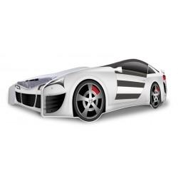 Lit voiture argent avec matelas 180x80
