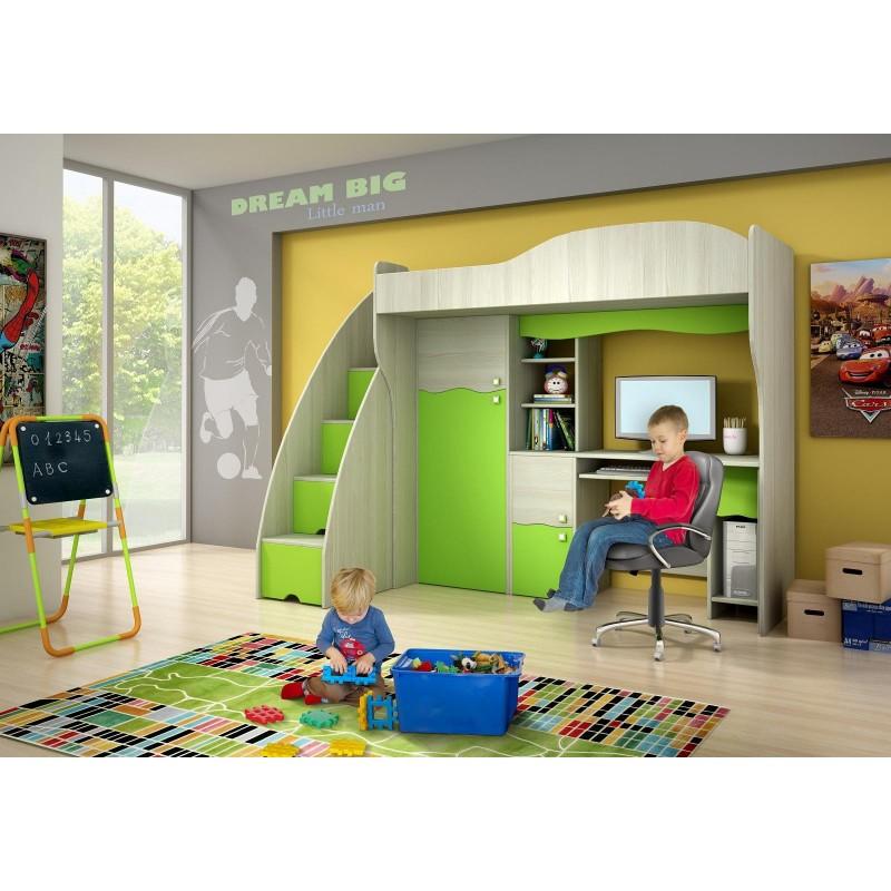 lit mezzanine superpos combin avec bureau et armoire vert conte 1. Black Bedroom Furniture Sets. Home Design Ideas