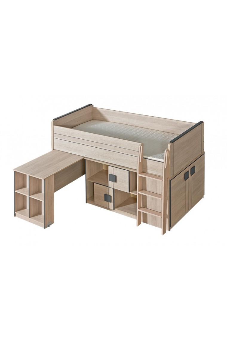 lit mezzanine sur lev combin avec bureau et commode bfunky 200x90 cm b b shopping march. Black Bedroom Furniture Sets. Home Design Ideas