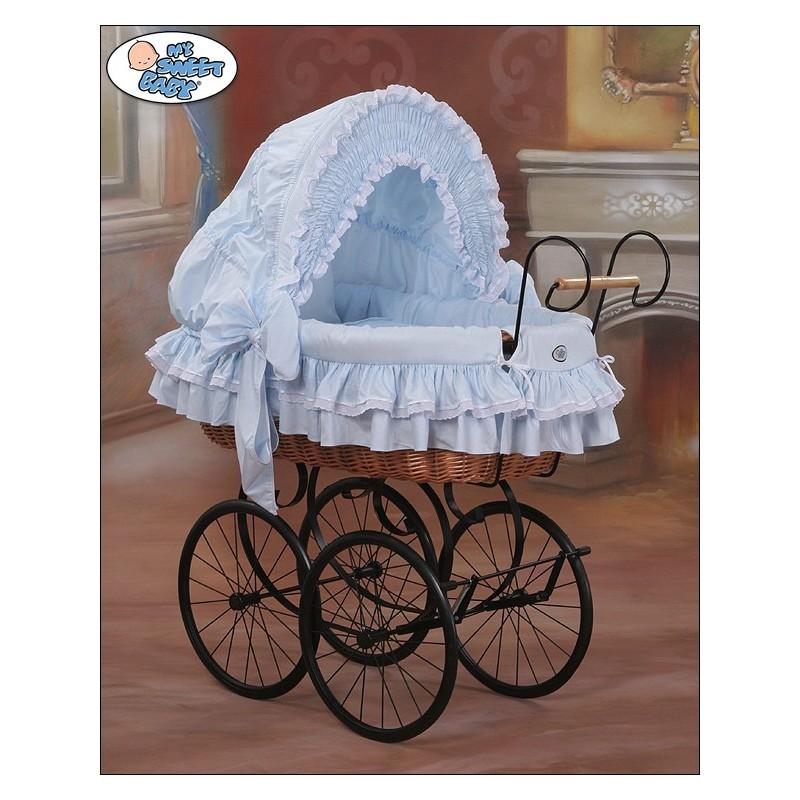 berceau b b vintage r tro osier bleu noir berceaux osier. Black Bedroom Furniture Sets. Home Design Ideas