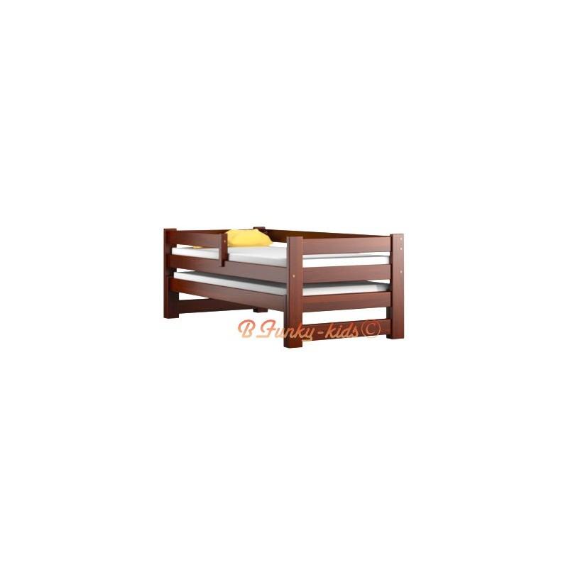 lit gigogne en bois massif avec tiroir et matelas pablo 190x80 cm l. Black Bedroom Furniture Sets. Home Design Ideas