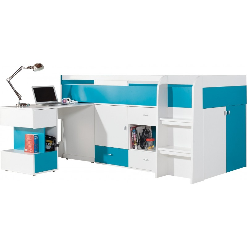 lit mezzanine sur lev combin avec bureau et commode mobby 200x90. Black Bedroom Furniture Sets. Home Design Ideas