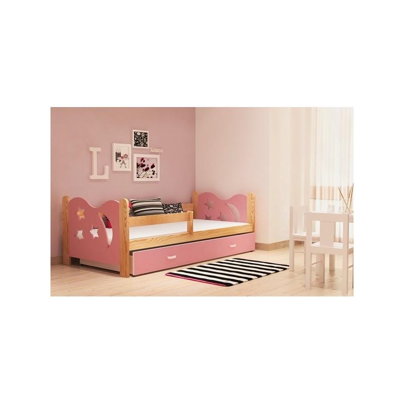 lit enfant en bois de pin massif lune avec tiroir 160x80 cm lits 16. Black Bedroom Furniture Sets. Home Design Ideas