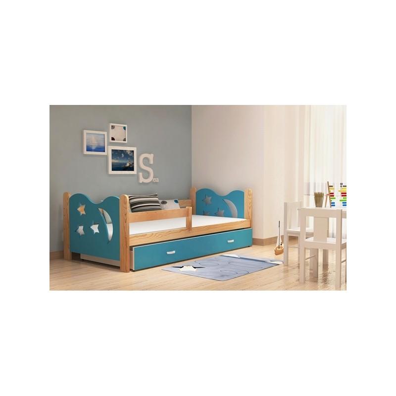 lit enfant en bois de pin massif lune avec tiroir et matelas 160x80. Black Bedroom Furniture Sets. Home Design Ideas