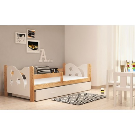lit enfant en bois de pin massif lune avec tiroir 160x80 cm lits 16. Black Bedroom Furniture Sets. Home Design Ideas