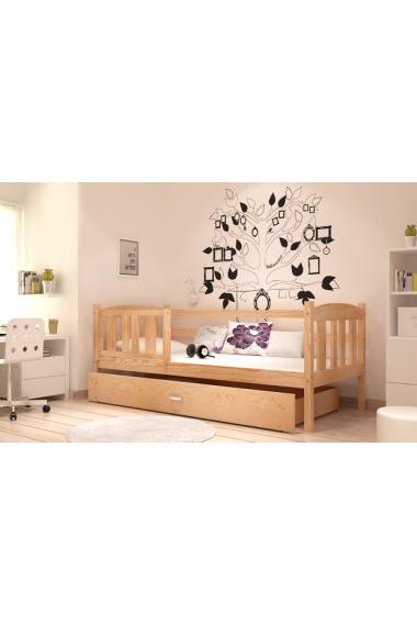 lit en bois de pin massif jacob avec tiroir et matelas 180x80 cm li. Black Bedroom Furniture Sets. Home Design Ideas