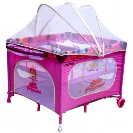 Parc b b carr et lit voyage double jumeaux 2 en 1 rose princesse - Lit double pour bebe jumeaux ...