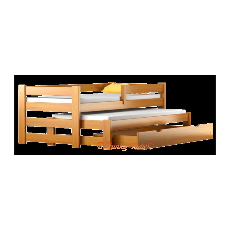 lit gigogne en bois massif avec tiroir et matelas pablo 160x80 cm l. Black Bedroom Furniture Sets. Home Design Ideas