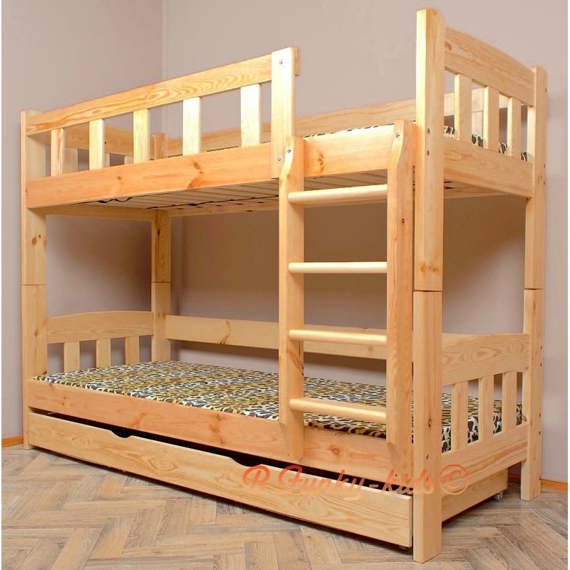 lit superpos en bois massif inez avec matelas et tiroir. Black Bedroom Furniture Sets. Home Design Ideas