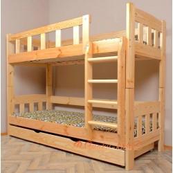 Lit superposé en bois massif Inez avec matelas et tiroir 160x80 cm