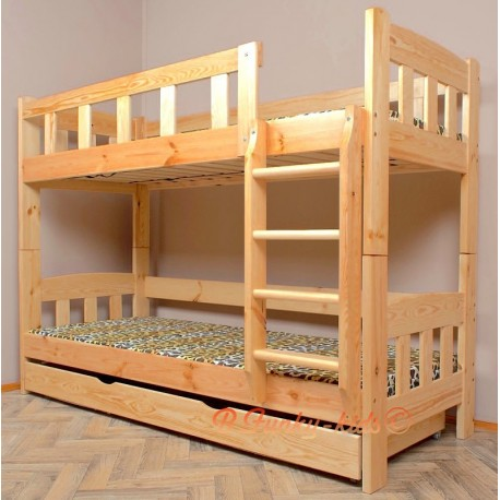 lit superpos en bois massif inez avec matelas et tiroir 160x80 cm. Black Bedroom Furniture Sets. Home Design Ideas