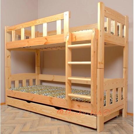lit superpos en bois massif inez avec matelas et tiroir 200x90 cm. Black Bedroom Furniture Sets. Home Design Ideas