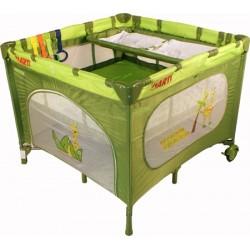 Parc bébé carré et lit voyage double jumeaux 2 en 1 vert