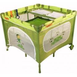 Parc bébé carré et lit voyage double jumeaux 2 en 1 vert football