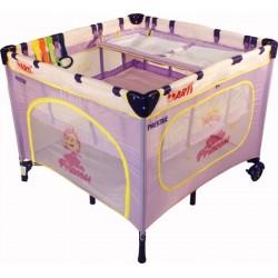 Parc bébé carré et lit voyage double jumeaux 2 en 1 Violet Princesse