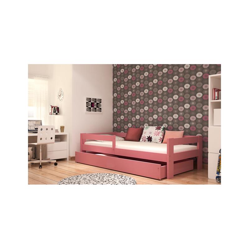 lit enfant en bois de pin massif dino avec tiroir et matelas 160x80. Black Bedroom Furniture Sets. Home Design Ideas