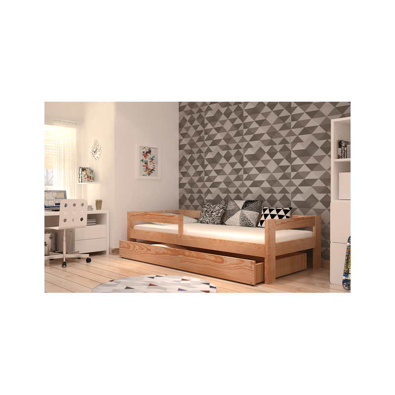 lit en bois de pin massif dino avec tiroir et matelas 180x80 cm lit. Black Bedroom Furniture Sets. Home Design Ideas