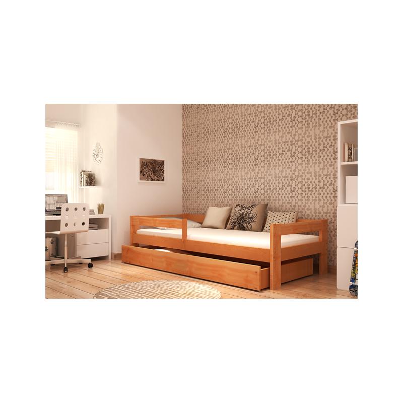 lit en bois de pin massif dino avec tiroir et matelas 180x80 cm lit. Black Bedroom Furniture Sets. Home Design Ideas