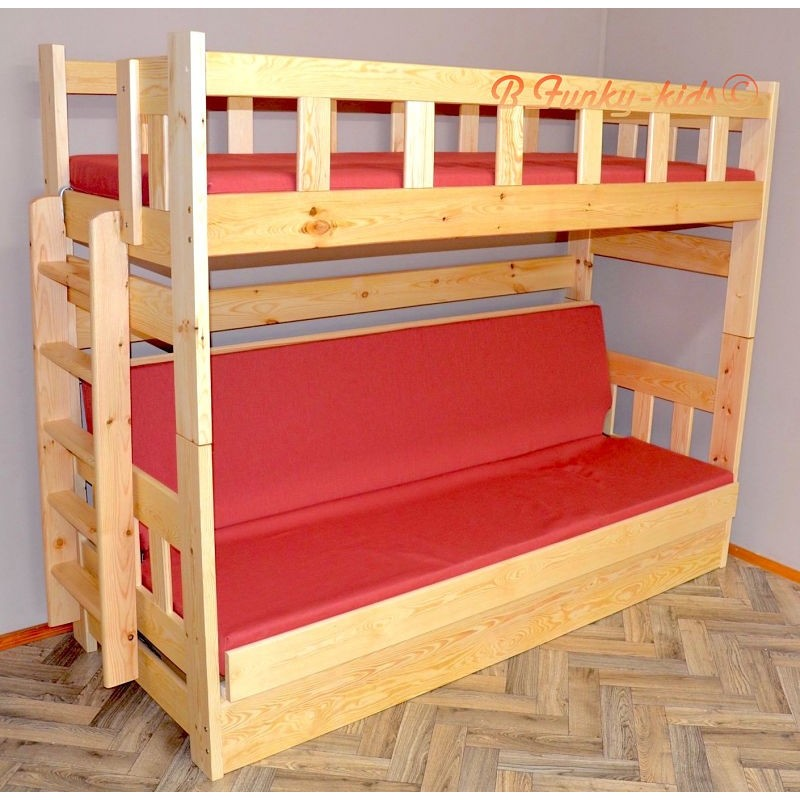 lit superpos en bois massif fabio avec matelas 180x80 et 180x110 c. Black Bedroom Furniture Sets. Home Design Ideas