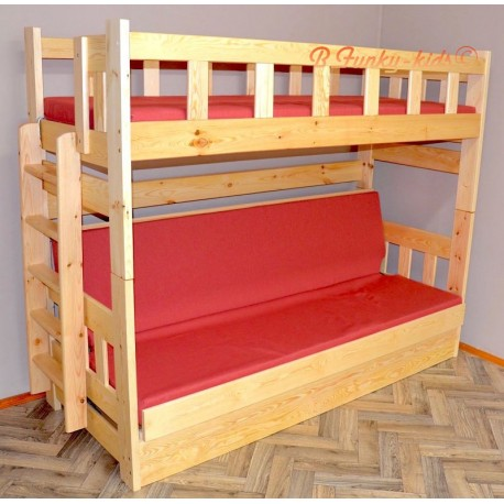 lit superpos en bois massif fabio avec matelas 200x90 et. Black Bedroom Furniture Sets. Home Design Ideas