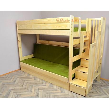 lit superpos iris avec escalier rangement et matelas 200x90 et 200. Black Bedroom Furniture Sets. Home Design Ideas