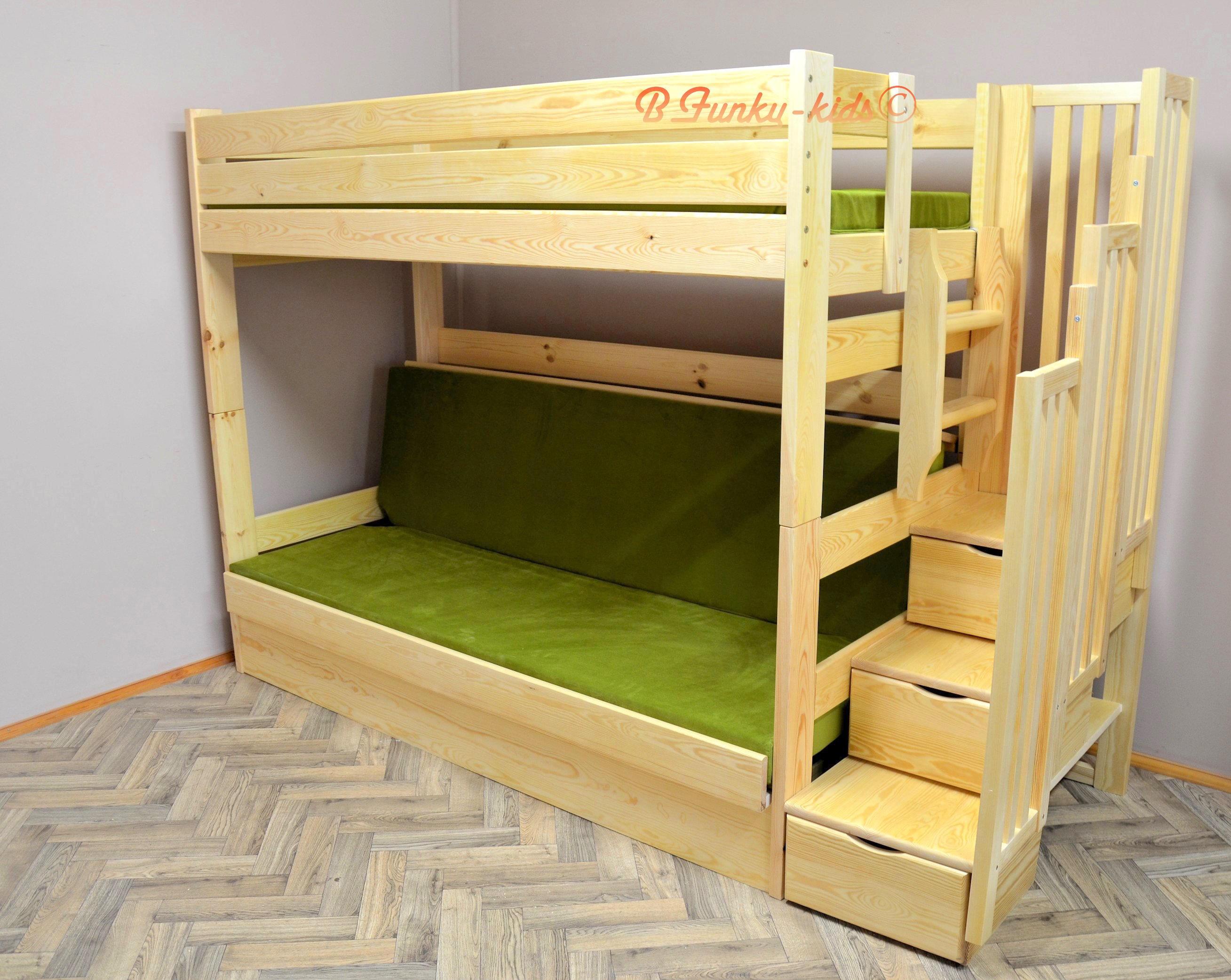 lit superposé iris avec escalier rangement et matelas 200x90 et 200
