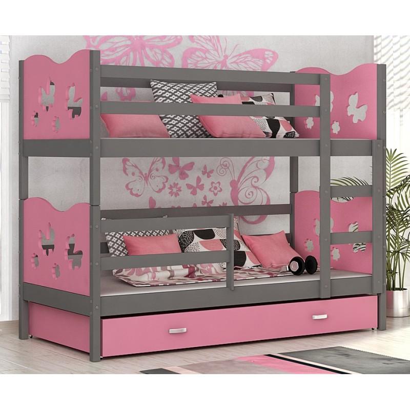 lit superpos en bois massif 180x80 cm train papillons coeurs lits. Black Bedroom Furniture Sets. Home Design Ideas