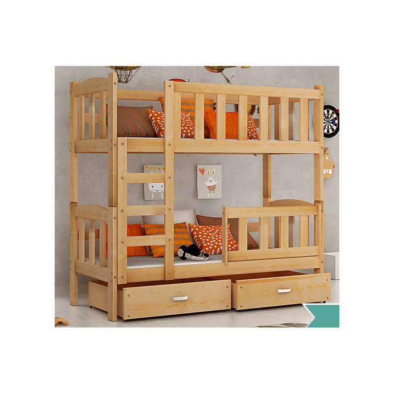 lit superpos en bois massif bambi avec matelas et tiroirs 160x70 c. Black Bedroom Furniture Sets. Home Design Ideas