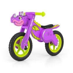 Dino violette - draisienne bois de vélo sans pédales