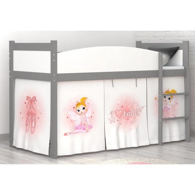 Lit mezzanine sur lev ballet avec matelas et rideau lits mezzanine - Rideau lit mezzanine ...