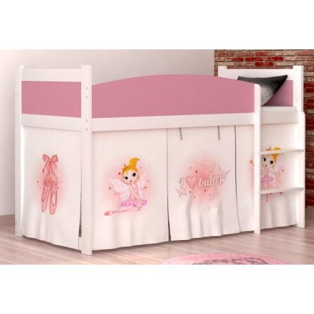 lit mezzanine sur lev ballet avec matelas et rideau lits mezzanine. Black Bedroom Furniture Sets. Home Design Ideas