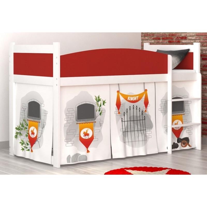 Lit mezzanine sur lev ch teau avec matelas et rideau lits mezzanin - Rideau pour lit sureleve ...