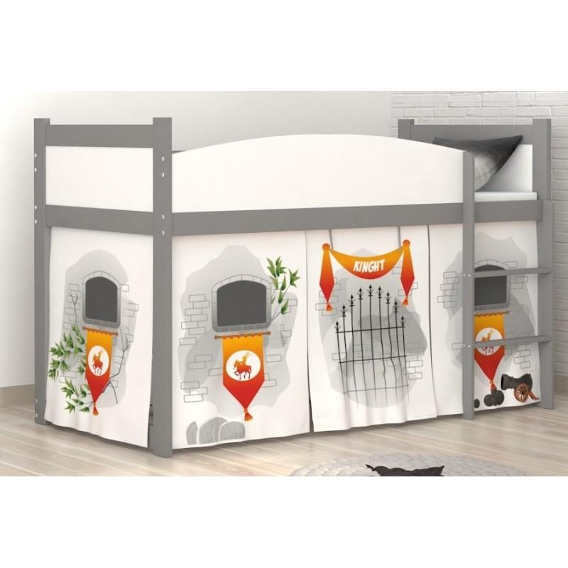 Lit mezzanine sur lev ch teau avec matelas et rideau lits mezzanin - Rideau lit mezzanine ...