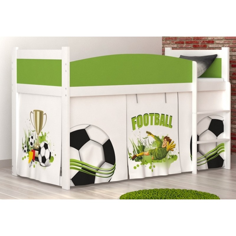 lit mezzanine sur lev football avec matelas et rideau lits mezzani. Black Bedroom Furniture Sets. Home Design Ideas