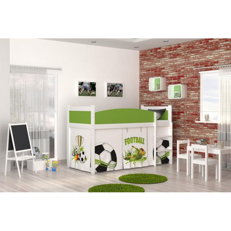 Lit mezzanine sur lev football avec matelas et rideau lits mezzani - Rideau pour lit sureleve ...