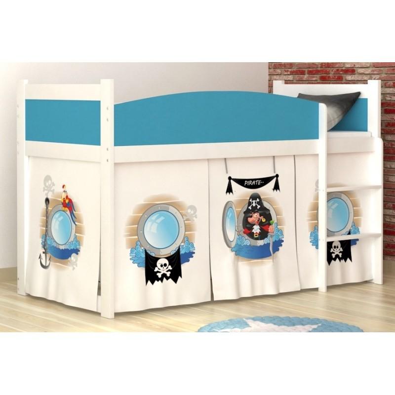 Lit mezzanine sur lev pirates 1 avec matelas et rideau - Rideau pour lit mezzanine ...