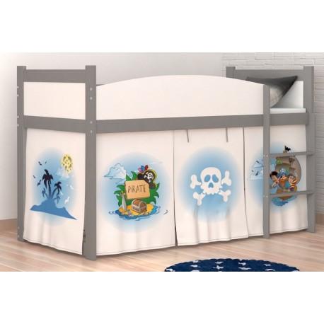 Lit mezzanine sur lev pirates 2 avec matelas et rideau lits mezzan - Rideau lit superpose ...