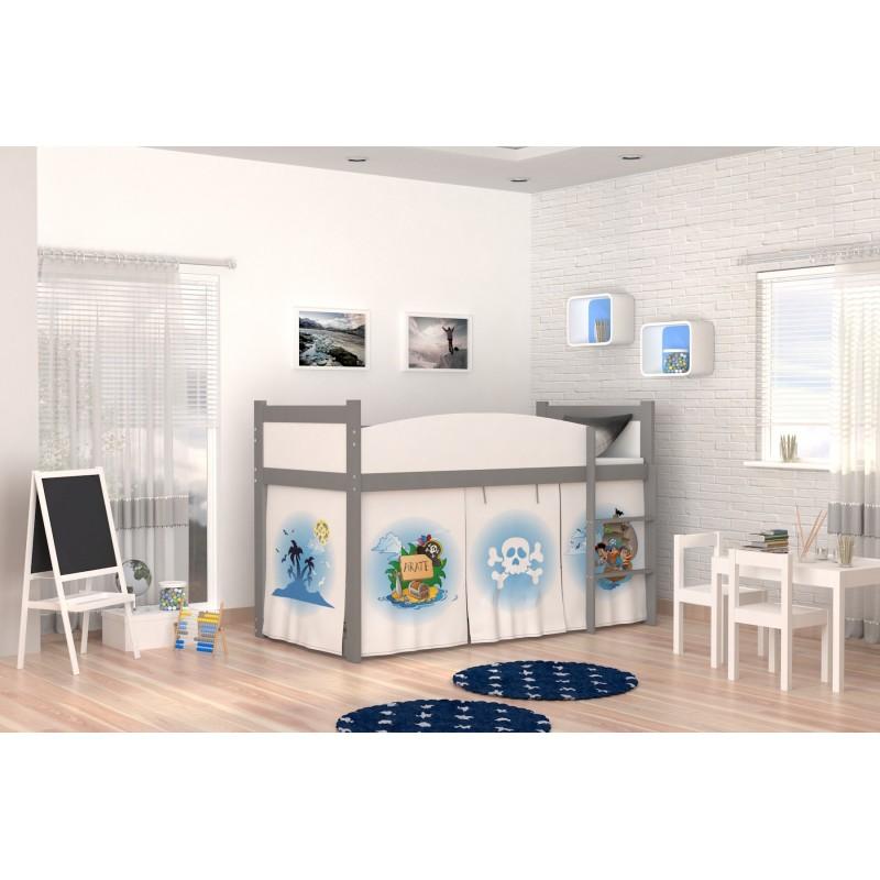lit mezzanine sur lev pirates 2 avec matelas et rideau lits mezzan. Black Bedroom Furniture Sets. Home Design Ideas