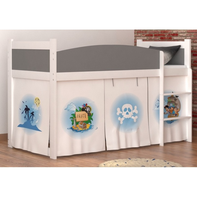 Lit mezzanine sur lev pirates 2 avec matelas et rideau lits mezzan - Rideau lit mezzanine ...
