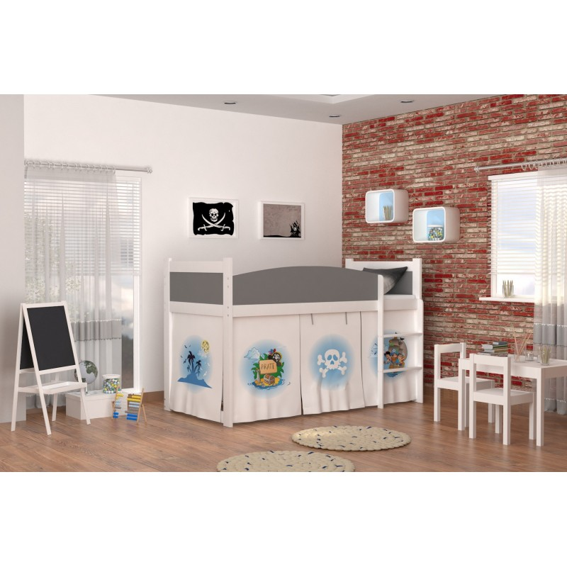 lit mezzanine sur lev pirates 2 avec matelas et rideau lits mezzan. Black Bedroom Furniture Sets. Home Design Ideas