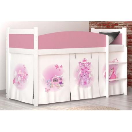 lit mezzanine sur lev princesse avec matelas et rideau lits mezzan. Black Bedroom Furniture Sets. Home Design Ideas