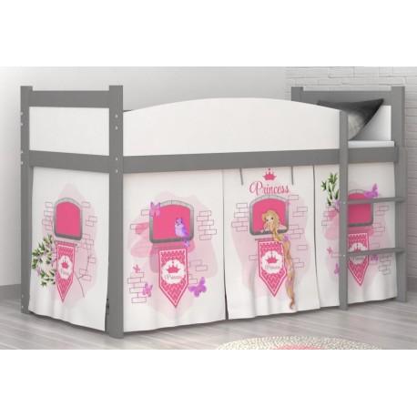 Lit mezzanine sur lev tour de princesse avec matelas et rideau lit - Rideau lit mezzanine ...