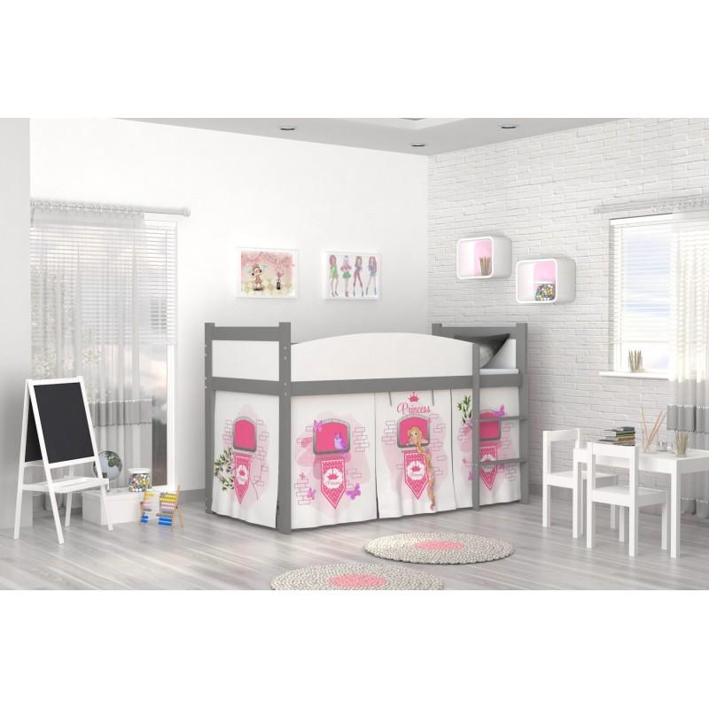 lit mezzanine sur lev tour de princesse avec matelas et rideau lit. Black Bedroom Furniture Sets. Home Design Ideas