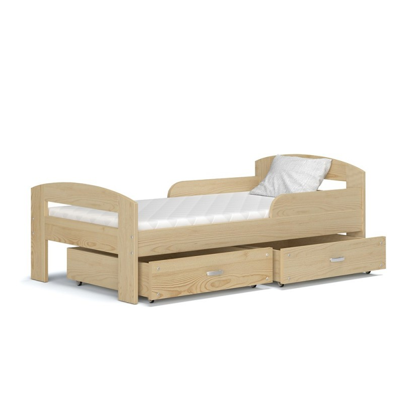 lit enfant en bois de pin massif greg avec tiroirs et matelas 160x8. Black Bedroom Furniture Sets. Home Design Ideas