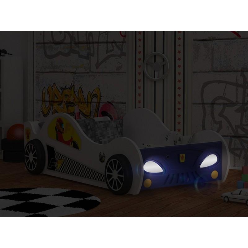 lit voiture avec led lumi res 160x80 cm lits en forme de voitures. Black Bedroom Furniture Sets. Home Design Ideas