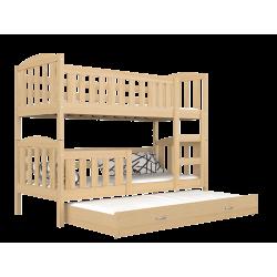 Lit superposé en bois massif Jacob 3 180x80 cm