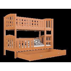Lit superposé en bois massif Jacob 2 avec tiroir 190x80 cm